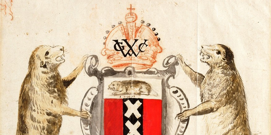 Proposed Coat of Arms for New Amsterdam, New Netherland: Preparatory Drawing for a Presentation to the Dutch West India Company, ca. 1630New-York Historical Society, 1885.5